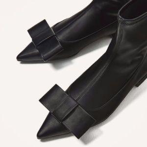 Zara black soft  bow pointed toe sock flat bootie